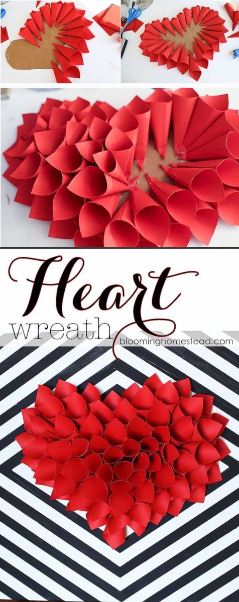 diy valentine decorations heart wreath