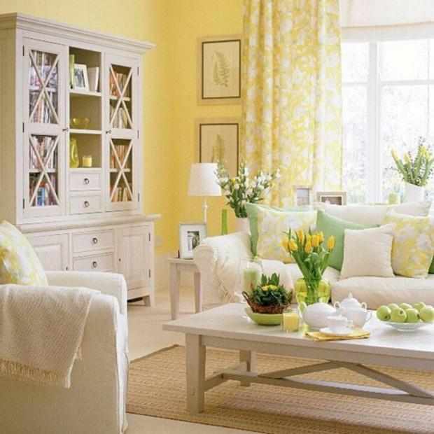 yellow and white interior design