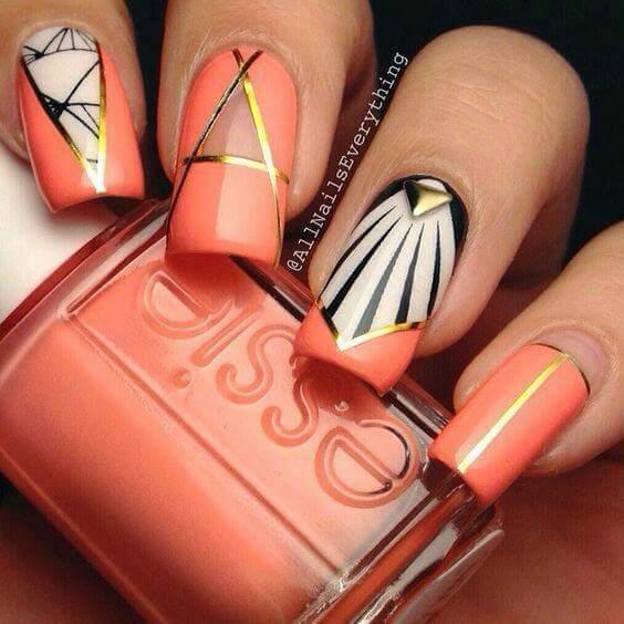 orange and gold nail art