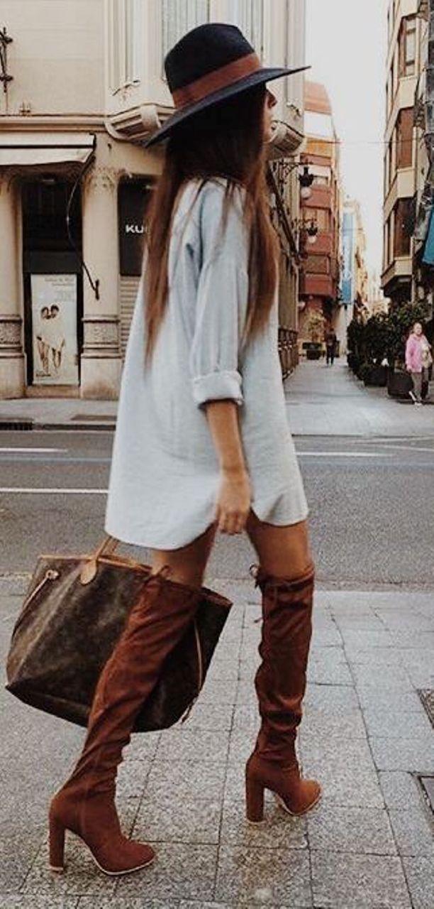 denim dress fall outfit ideas 2