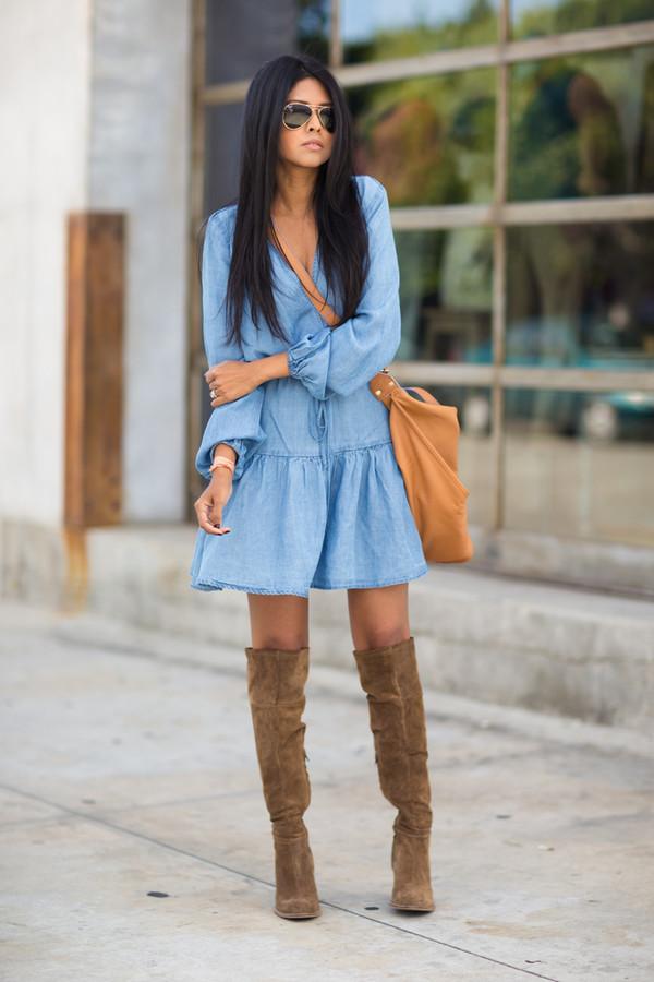 denim dress fall outfit ideas 4