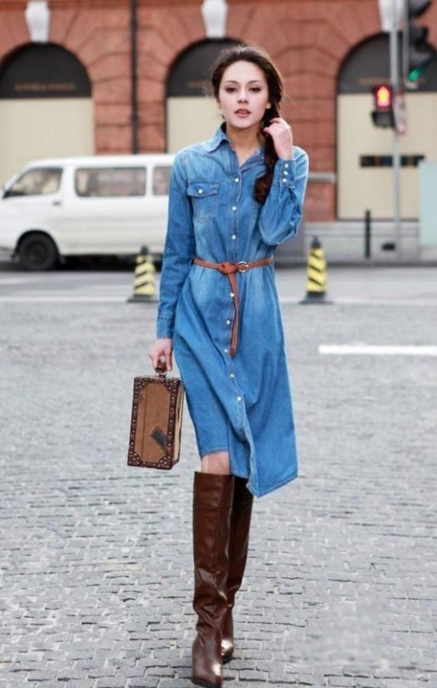 denim dress outfit ideas